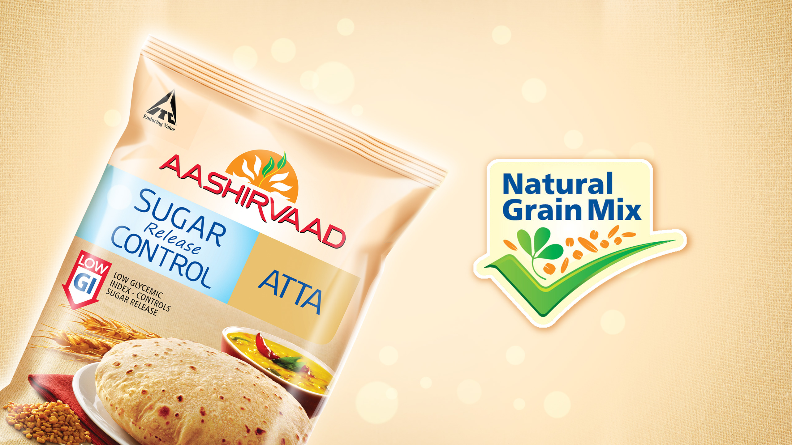 Branding and Identity design for ITC Aashirvaad sub brand Aashirvaad low GI atta
