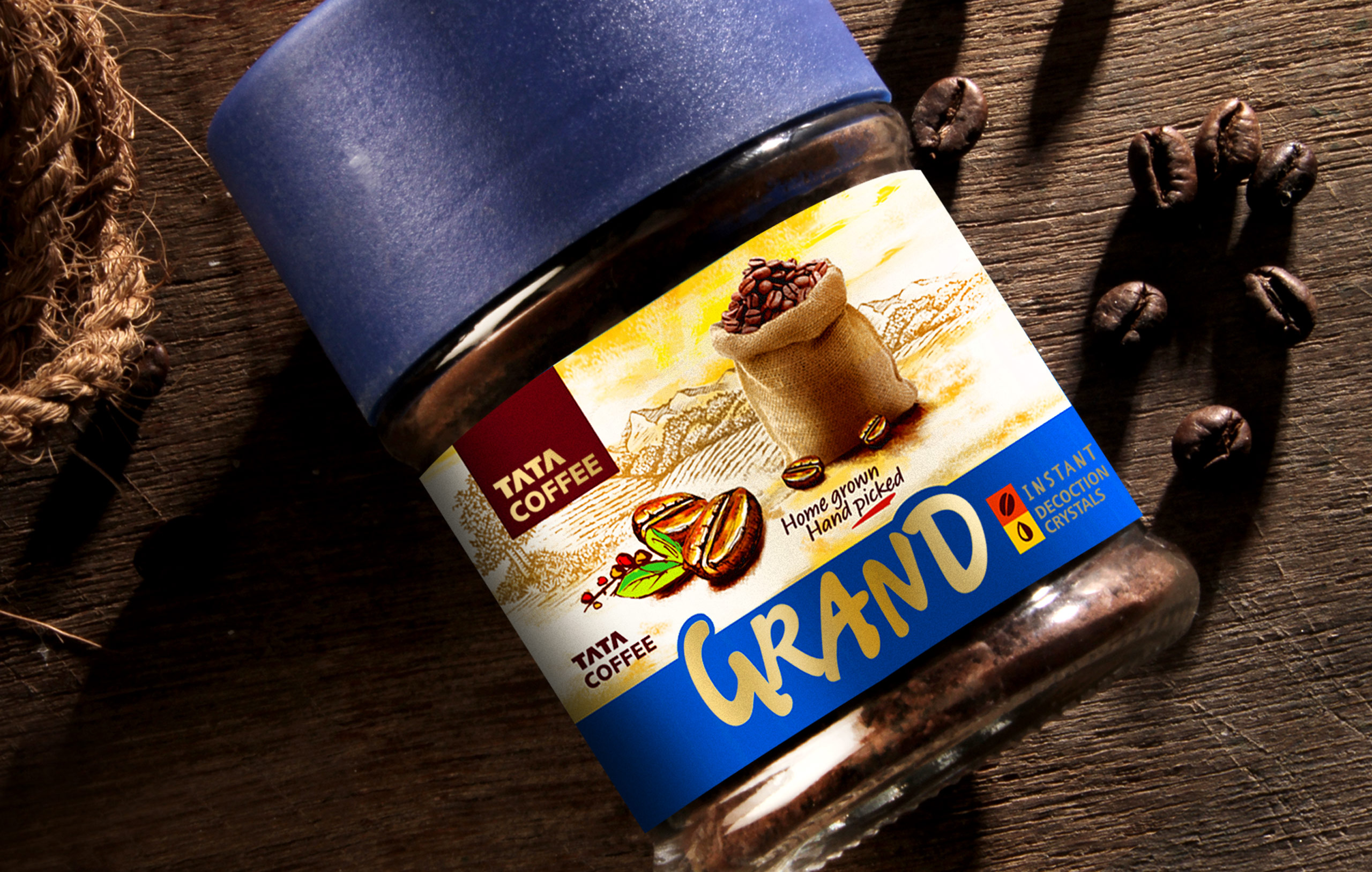 TATA Coffee Grand Instant decoction crystals package designed by Icarus Design Bangalore