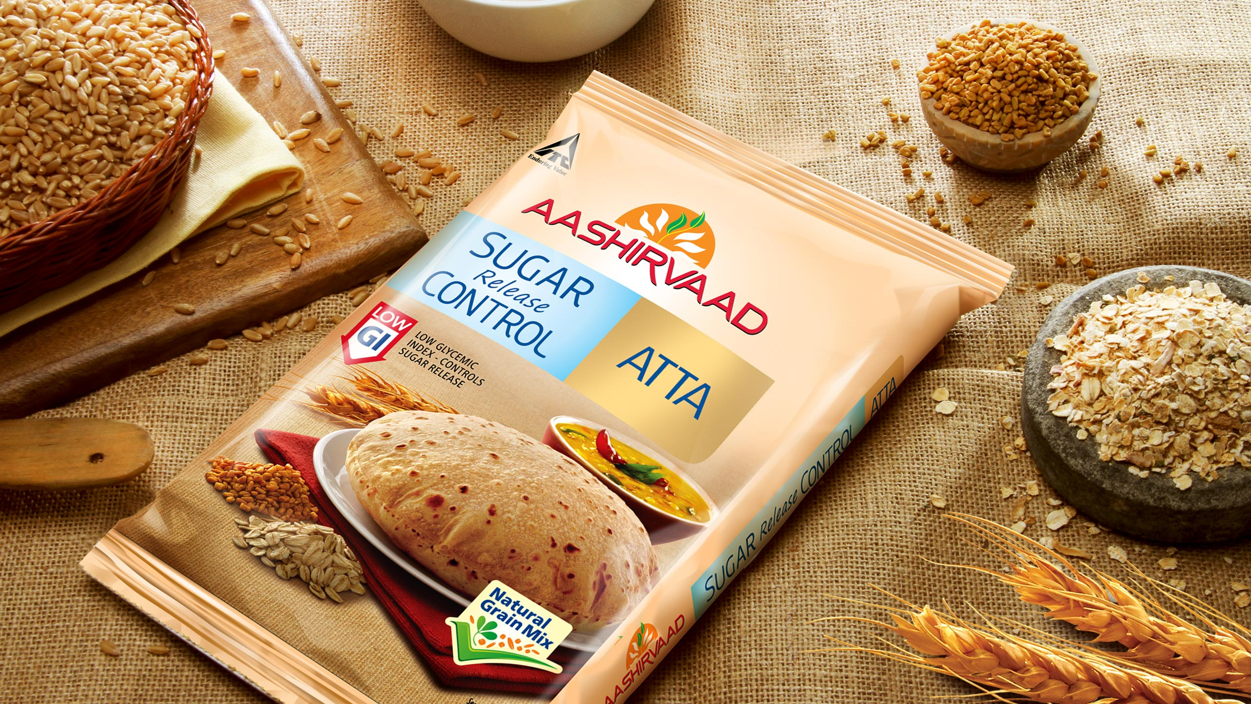 Packaging design for ITC Aashirvaad sub brand Aashirvaad low GI atta