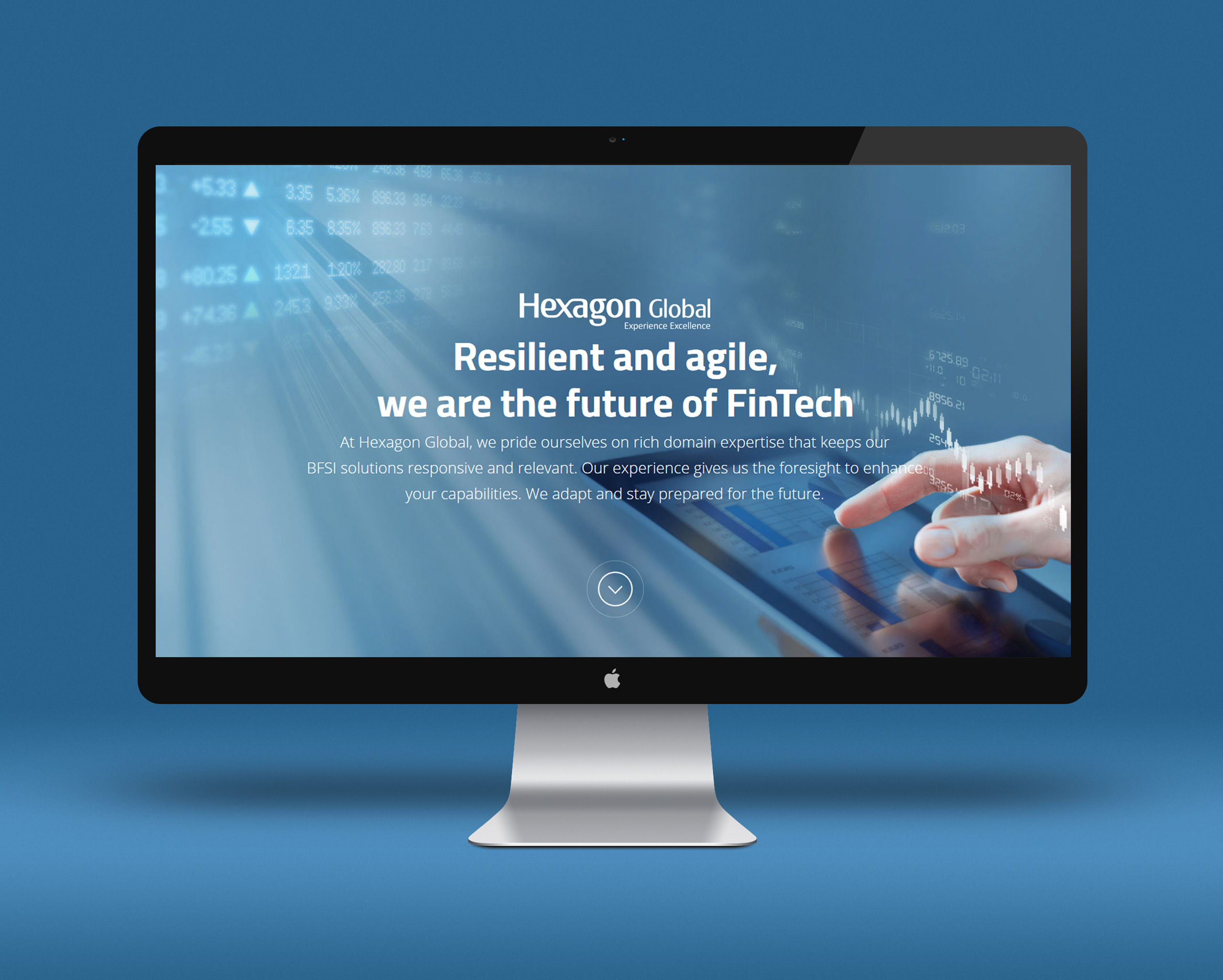 Home screen design for fintech company Hexagon Global
