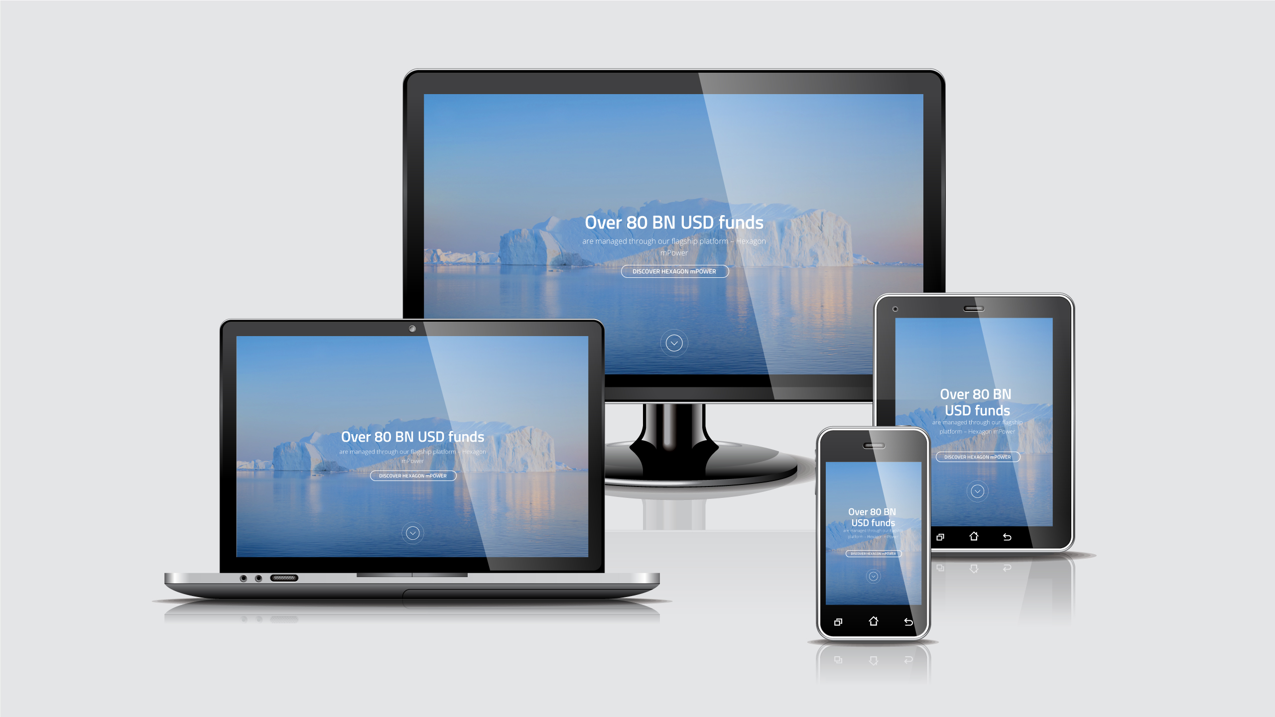 Responsive branded web layouts and design for fintech company Hexagon Global