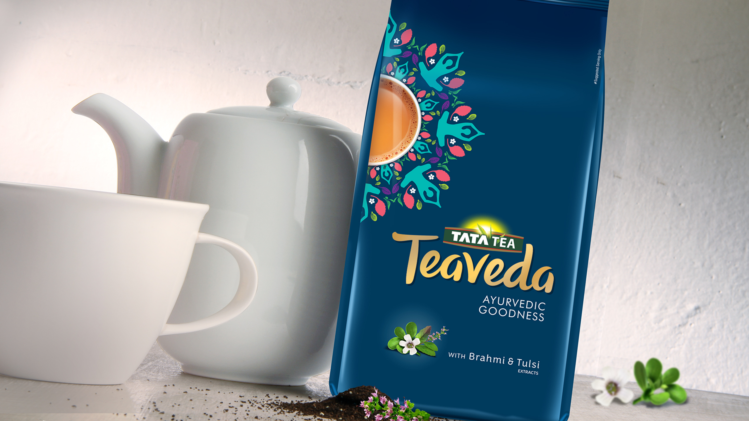 TATA Teaveda with Brahmi and Tulsi product branding and packaging design